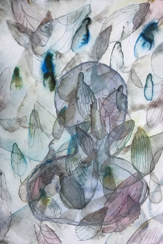 Blind spot, ink on paper, 26 x 18, 2018