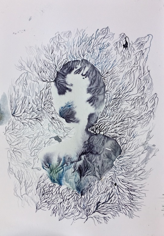Wave, ink on paper, 26 x 18, 2018